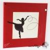 tableau danseuse ruban fine silhouette noire fond rouge