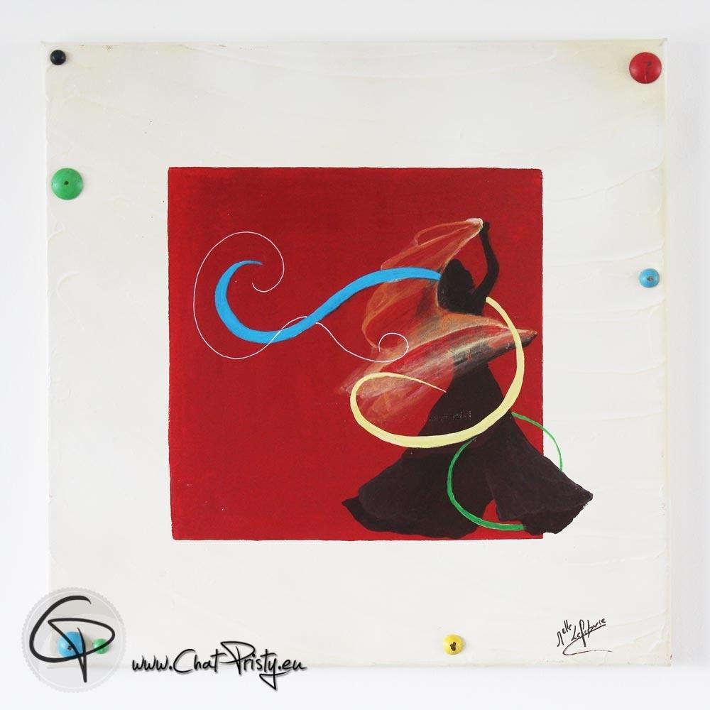 silhouette danseuse rubans colorés tableau carré