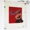 silhouette femme peinte acrylique danse rubans de couleurs