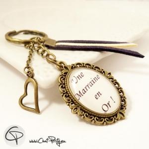 porte-clé marraine en or cadeau original personnalisé