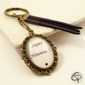 porte-clé bronze personnalisé super nounou cadeau original