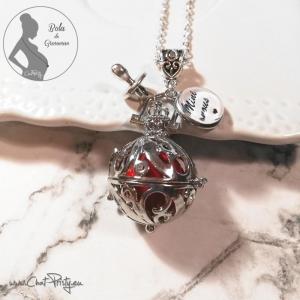 bola de grossesse bébé fille médaille personnalisable boule musicale rouge