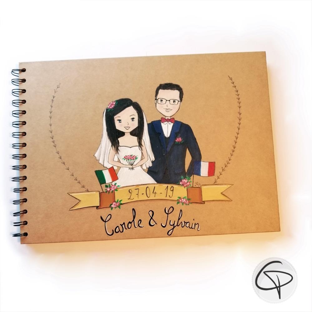livre d'or mariage personnalisé portrait futurs époux dessin fait main
