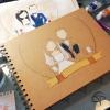 livre d'or mariage avec illustration des futurs mariés personnalisable