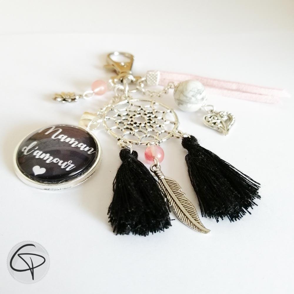 bijou pour sac maman d'amour attrape-rêve pompons noirs
