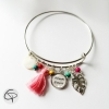 bracelet maman d'amour pompon rose cadeau fête des mères