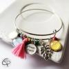 bracelet jonc fermé maman d'amour 2 médaillons prénoms