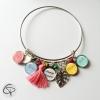 bracelet maman personnalisé 4 prénoms enfants pompon rose