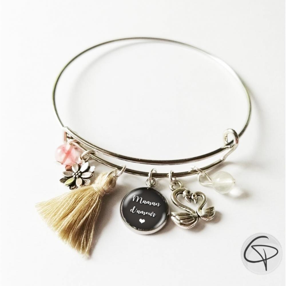 bracelet jonc rond argenté maman pompon crème breloque cygne
