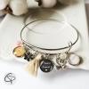 bracelet argenté pour femme cadeau fête des mères 2 prénoms enfants