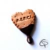 biscuit coeur chocolat merci fait main