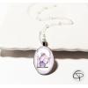 collier enfant médaillon chouette violette cadeau petite fille