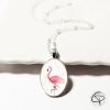 collier enfant flamant rose sous verre