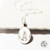 collier enfant dessin de lapin médaillon ovale