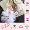 Bijou de sac poupée en bois danseuse tutu en organza, message au choix