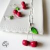 boucles cerises et sautoir pendentif cerise bijoux faits main