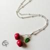 Collier pendentif petites cerises bijou original fille rockabilly