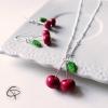 bijoux filles collier cerises avec boucles d'oreilles assorties