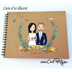 livre d'or de mariage personnalisé avec le portrait des futurs mariés