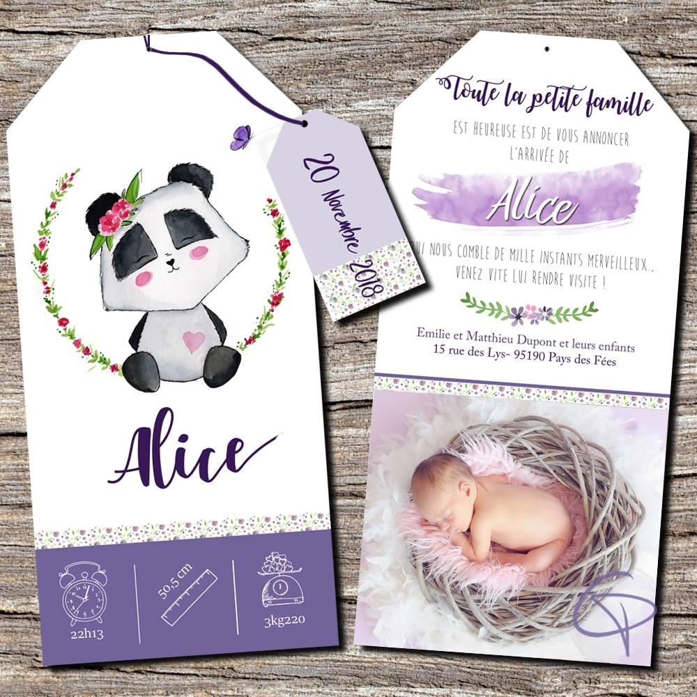 faire-part de naissance original pour une fille avec un panda