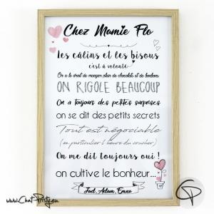 affiche chez mamie personnalisée encadrée cadre bord bois clair