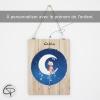 plaque de porte ours lune à personnaliser avec le prénom de l'enfant