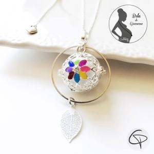 bola de grossesse argenté mis dans un anneau fin