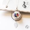 sautoir bola de grossesse argenté décoré d'une belle fleur colorée