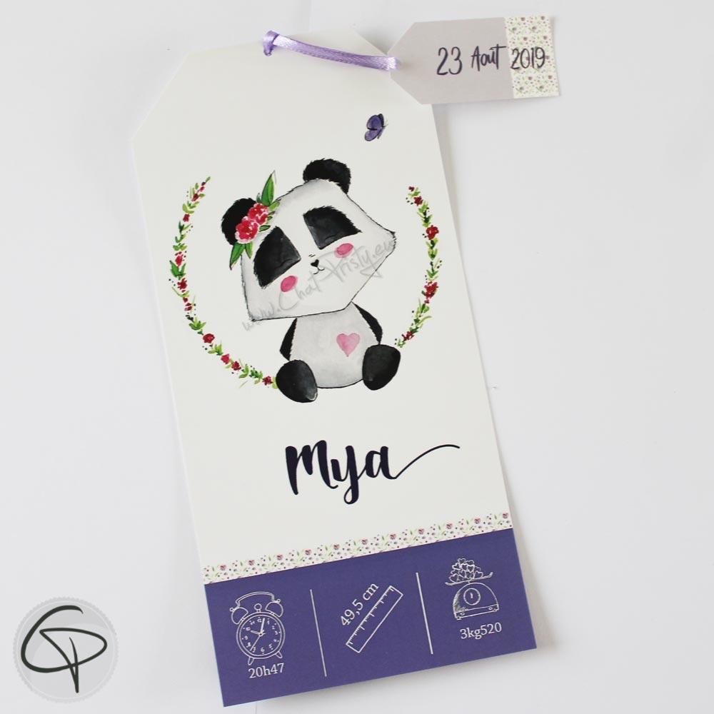 faire-part de naissance personnalisé pour fille avec un dessin de panda