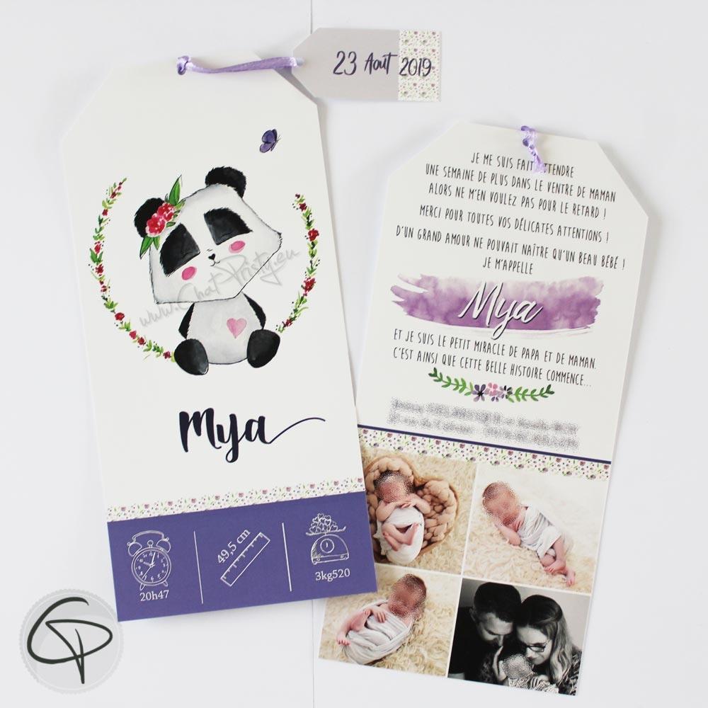 faire-part de naissance panda à personnaliser pour l'arrivée d'une fille
