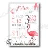 cadre de naissance original pour une fille avec un flamant rose