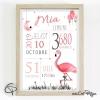 affiche de naissance illustrée d'un flamant rose personnalisé pour fille
