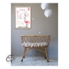 tableau de naissance avec un flamant rose pour décorer la chambre bébé
