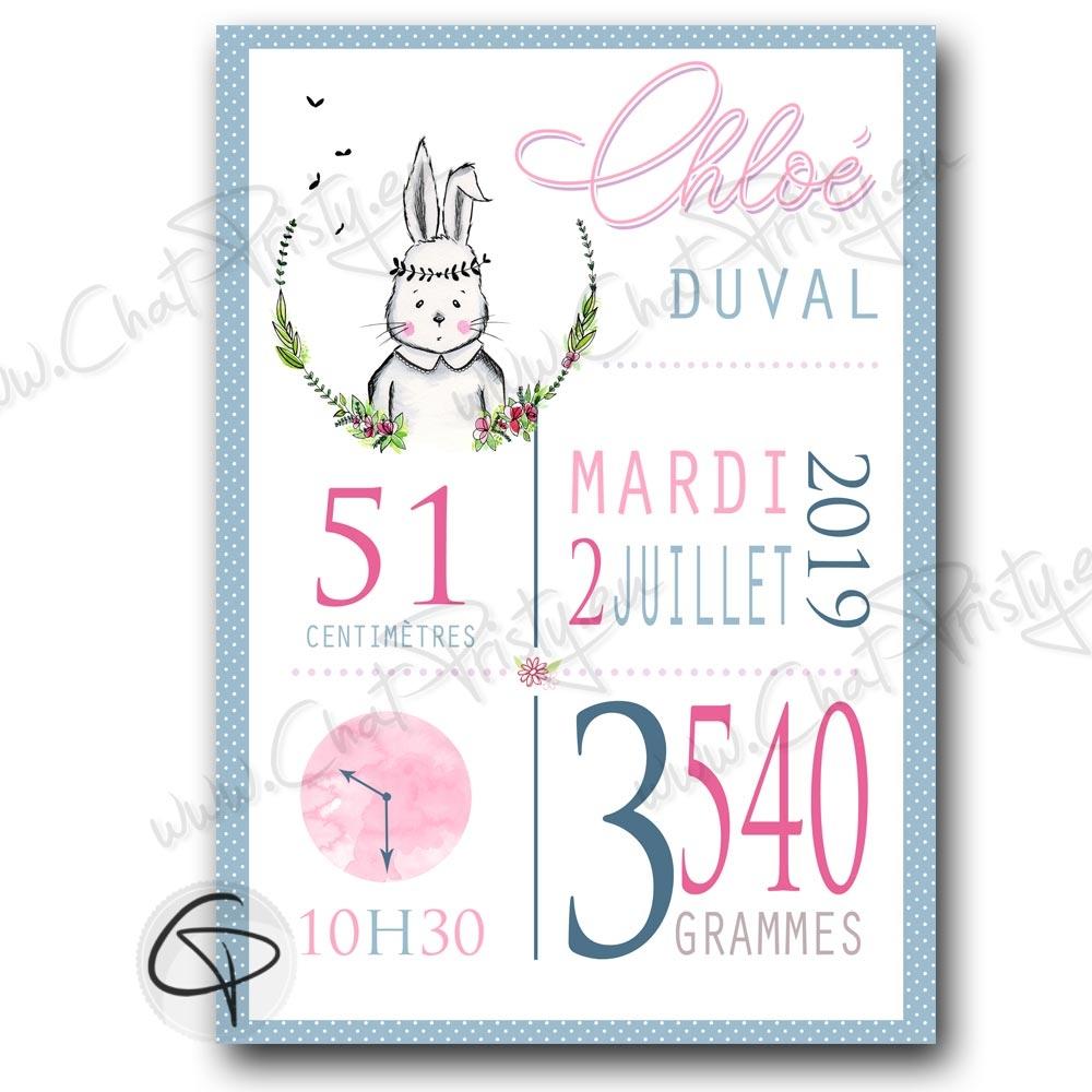 cadeau de naissance qui sort de l'ordinaire pour une fille dessin lapin