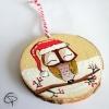suspension en bois pour sapin de Noël hibou personnalisable