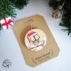 décoration sapin de Noël hibou peint main sur rondin de bois