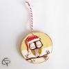 boule de Noël en bois peint main avec un hibou à personnaliser