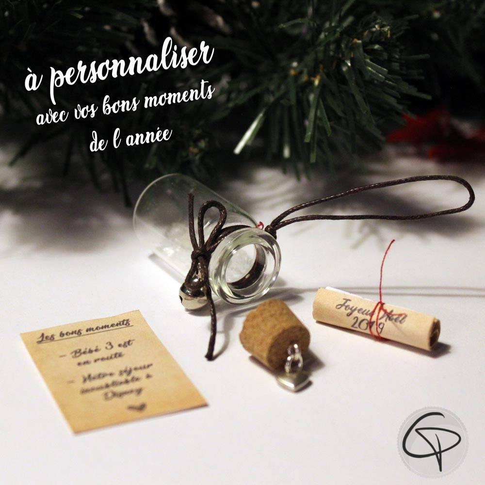 Décoration sapin de Noël fiole en verre message personnalisé