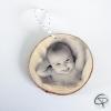 boule de noël originale avec photo imprimée sur bois