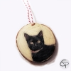 décoration en bois pour sapin avec photo de chat