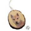 ornement de sapin en bois avec photo de chien imprimée