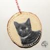 suspension en bois pour sapin avec la photo de votre chat