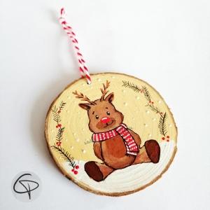 rondin en bois de Noël renne à personnaliser prénom enfant