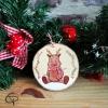 rondin en bois pour sapin de Noël renne peint à la main