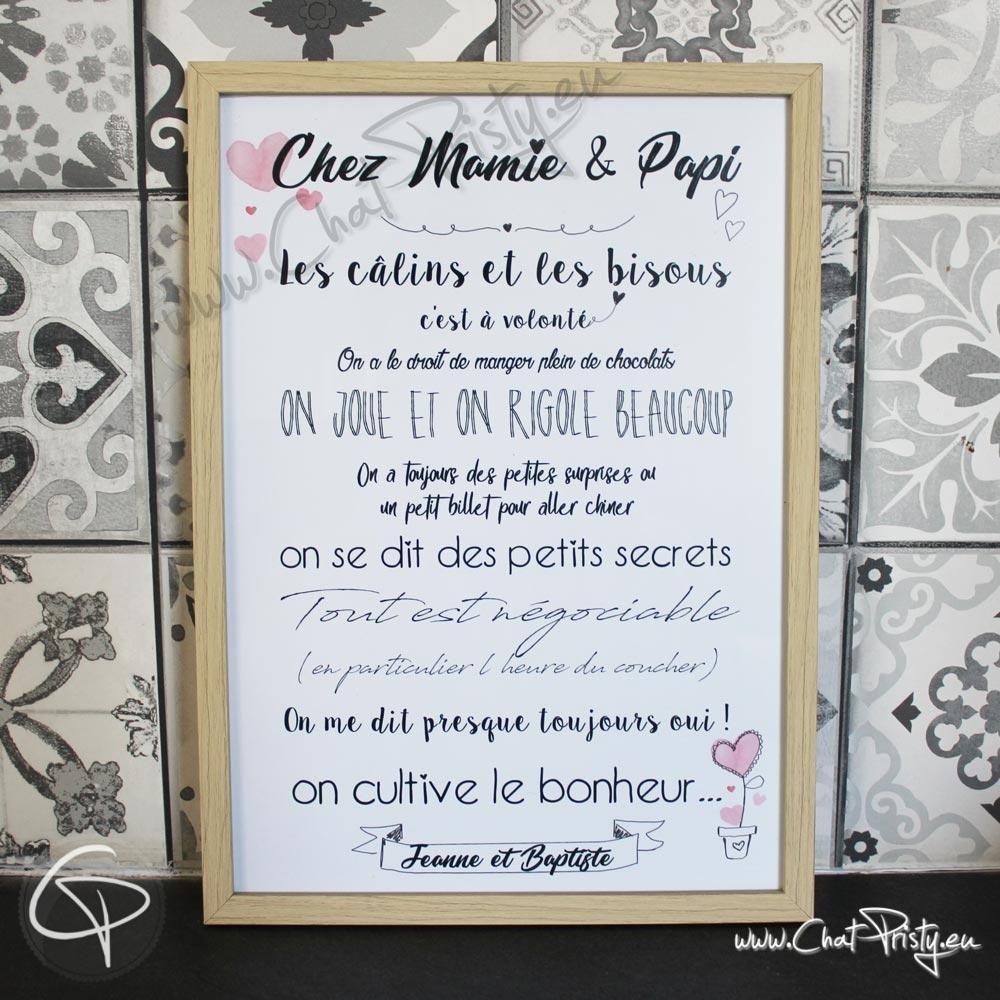 Affiche Chez Papy Et Mamie à Imprimer Texte Personnalisable