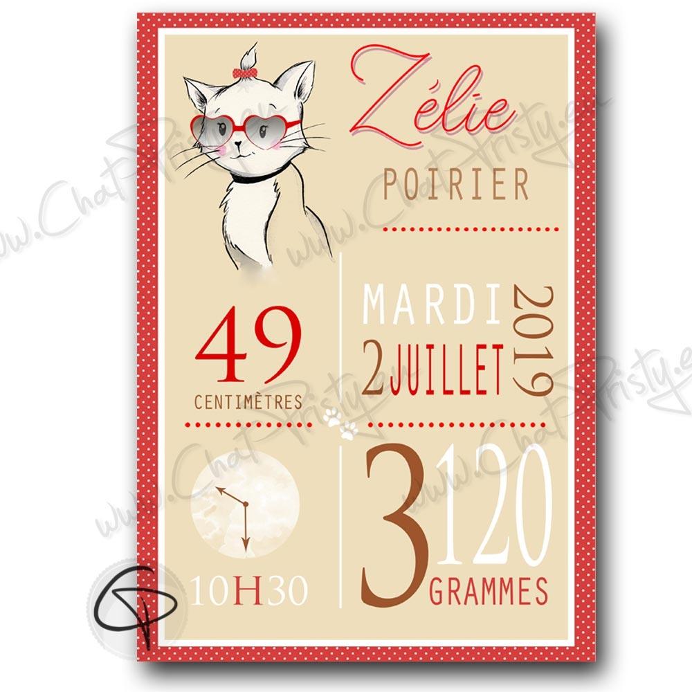 affiche chat personnalisée pour la naisasnce d'une fille