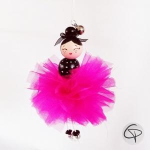 poupée de bois jupon fuchsia décoration Noël personnalisable