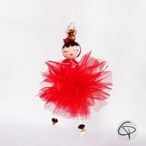 ornement pour sapin Noël poupée en bois peint main pompon organza rouge