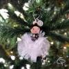 boule de Noël poupée pompon organza blanc personnalisable avec prénom