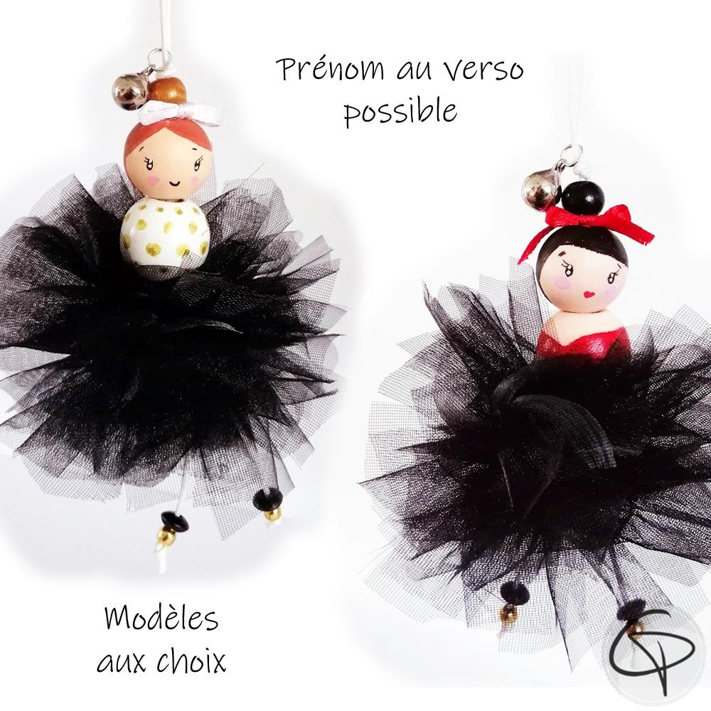 mignonne ballerine avec tutu organza noir à suspendre dans le sapin de Noël
